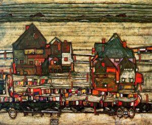 Egon Schiele-Casas de lavandería, 1914, col privada