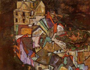 Edge of Town (Krumau Egon Schiele-Town Crescent III) 1918 Neue Galerie-Museo Joanneum, Graz