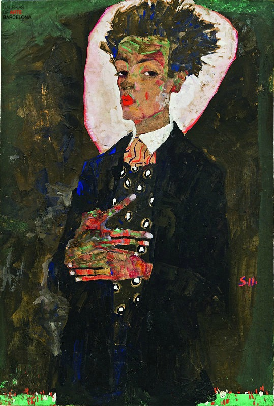 Schiele-autorretrato con chaleco de pavo real-1911