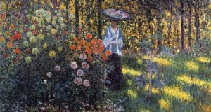 Monet Dama con parasol en el jardin de Argenteuil, 1875, col privada
