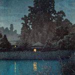 Hasui Kawase, lluvia nocturna en Omiya, 1930